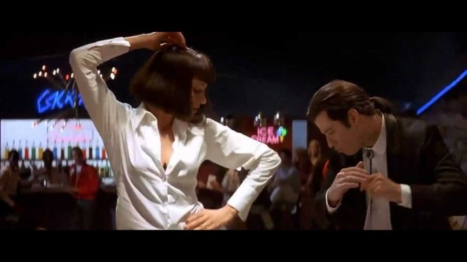 John Travolta and Uma Thurman in the iconic dance scene from the movie.